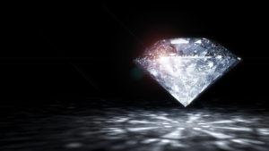 3 D render of shiny diamond.